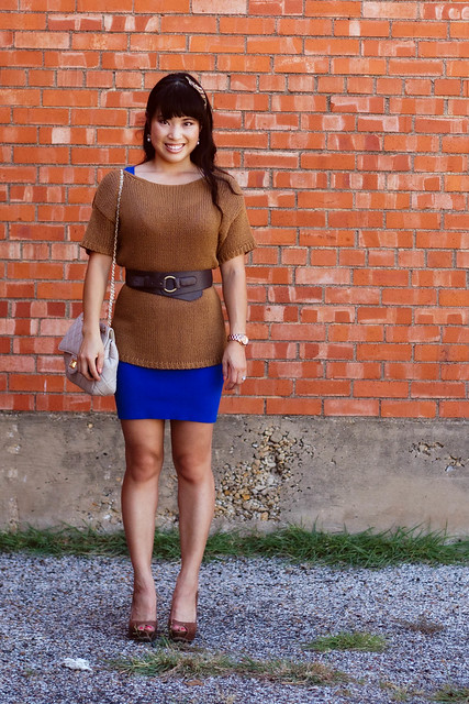 H&M camel knit sweater, wet seal royal blue dress, aldo whitsey, mk5430, yesstyle sarah quilted beige purse, sproos beaded bliss headband