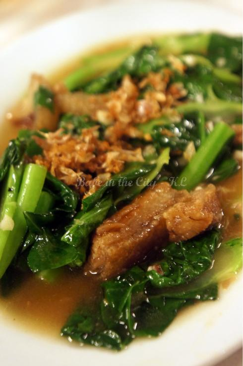 """Kana Moo Krab"" - Stir Fried Kailan with Crispy Pork (RM14.90)"