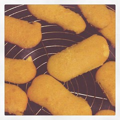 Home-made ladyfingers (made from left-over cake batter)