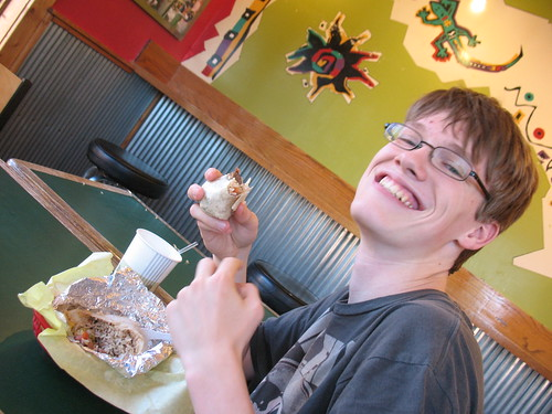 Kevin is happy!, food, Montana, Bozeman, La Parilla, burrito