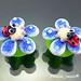 Earring : Ladybug Flower Blossom Blue
