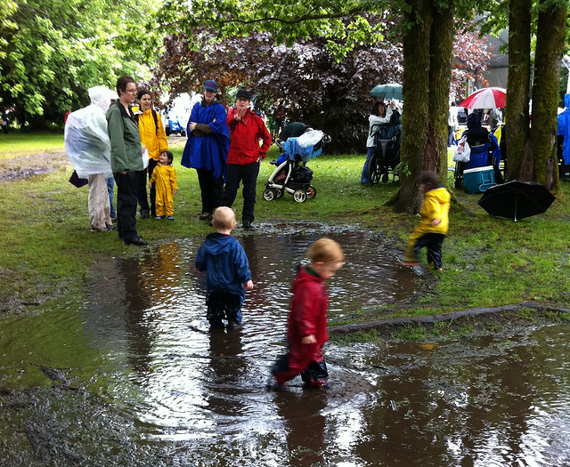 Little folks at the community puddle