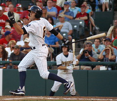 Ray Kruml flies out to left (NJ Baseball) Tags: newjersey easternleague trenton minorleagues trentonthunder doublea 2011 stirrups mercercountywaterfrontpark raykruml