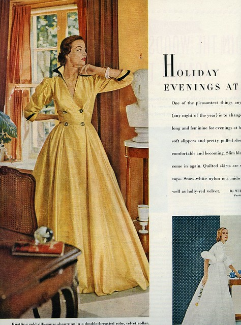 gold silk shantung robe, 1951