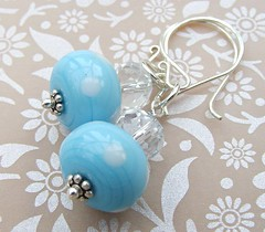 Blue Polka Earrings (3) (Glittering Prize - Trudi) Tags: blue glass silver beads crystal polka sterling earrings trudi lampwork sra ahndmade gbuk glitteringprize fhfteam