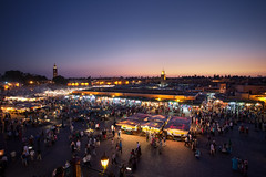 Djemaa El-Fna (TheFella) Tags: africa people slr night digital photoshop canon square eos photo high dynamic market northafrica markets unescoworldheritagesite unesco morocco photograph processing marrakech maghreb medina 5d bluehour dslr range crowds hdr highdynamicrange markii postprocessing bustling djemaaelfna photomatix kingdomofmorocco 5dmarkii