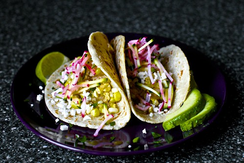charred corn tacos with zucchini-radish slaw | smitten kitchen