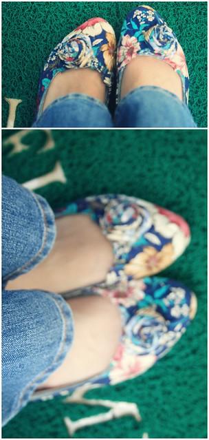bọc lại giầy bằng vải hoa.