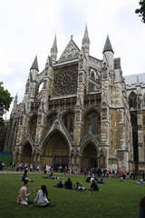 North Entrance, Westminster Abbey (lazy south's travels) Tags: door city uk england people london church grass worship britain candid entrance tourist tourists christian ornate cental