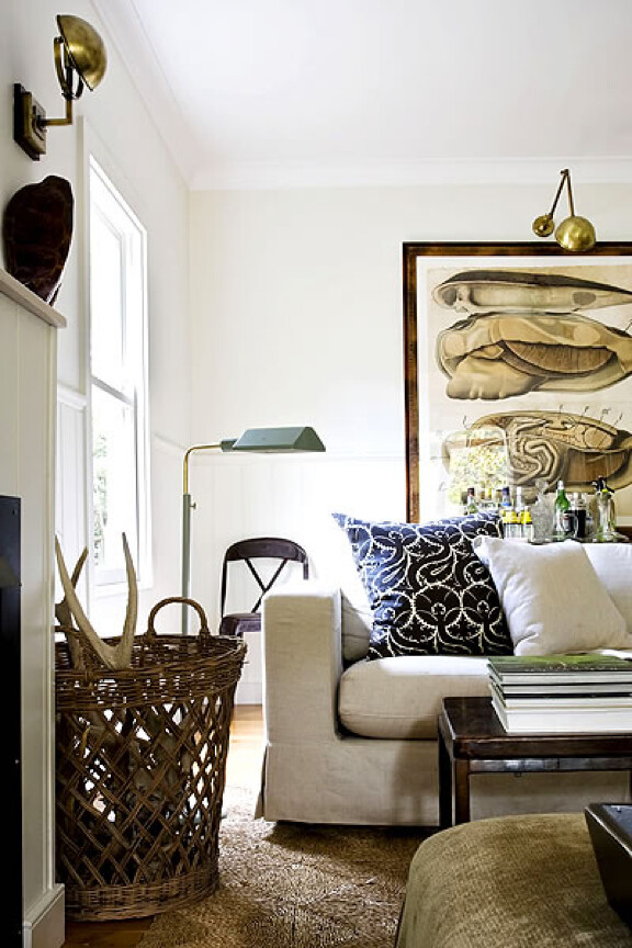 Gregory Mellor {off - white vintage rustic living room}