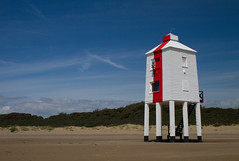 Burnham-On-Sea Lighthouse (Mukumbura) Tags: wood uk blue light england sky lighthouse beach stairs outdoors coast wooden sand lighthouses mud legs unitedkingdom dunes somerset safety mudflats navigation piles gettyimages burnhamonsea quicksand lighthouseonlegs summertimeuk