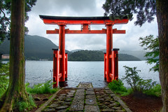 "THE LAKEFRONT TORII (James Chan ""JC Inspiration"") Tags: world travel lake inspiration japan forest james gate shrine gates sightseeing mount moto huge jc  hakone torii  hdr lakefront ashi          komagatake  jameschan jcinspiration mototsumiya"