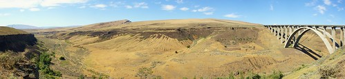 Panoramic shot near Fred G. Redmon Bridge overlooking Selah Creek.
