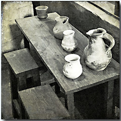 Pots (pixel_unikat) Tags: bw stilllife bench table wooden object pot textured