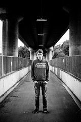 protect yourself (Andreas Strauch) Tags: portrait urban male blackwhite brcke mnnlich schwarzweis 5dmarkii