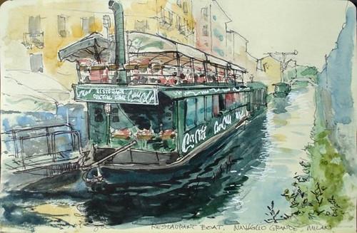 Milan restaurant boat, Naviglio Grande, Milan by Spencer Mackay