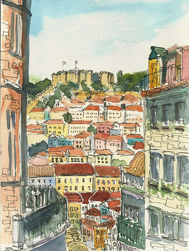 View toward the castle, Lisbon, Portugal