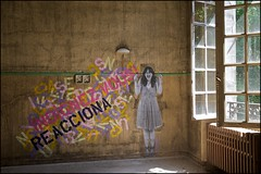 Hasar - 'Indignez vous!' (Cry out!) (Romany WG) Tags: art abandoned beautiful hospital graffiti decay v sanatorium derelict urbex cryout hasar hauntingly stphanehessel indignezvous