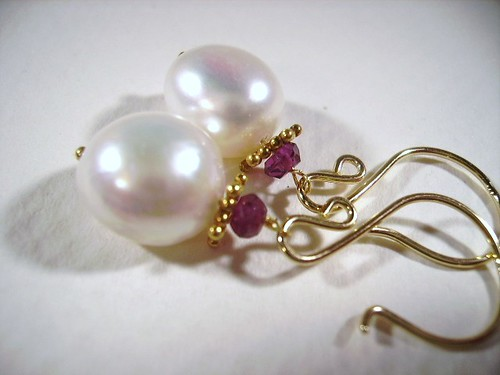 Fresh Water Pearls, Garnet, vermeil, 14k gold filled Earrings by OBTP-Jewelry