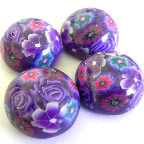 Purple Cabachons Polymer clay