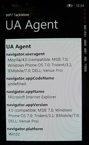 Windows Phone 7 UA Dell Venue Pro
