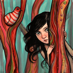 """Where to Hide"" (verpabunny) Tags: original painting artwork september solo 2011 kellyvivanco flatcolor"