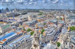 Bird's Eye View of London HDR (a_thomas1007) Tags: greatbritain england london thames parliament stpaulscathedral riverthames hdr theeye birdseye redbuses yahoo:yourpictures=skyline