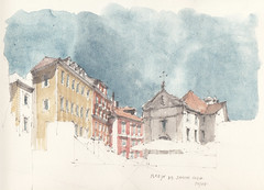 Igreja de Santa Luzia (Flaf) Tags: santa urban colour church water pencil drawing lisboa lisbon sketching kirche igreja lissabon florian baroque barock eglise miradouro symposium freie luzia afflerbach zeichnerei