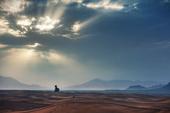 Sahara Sunrise (TheFella) Tags: africa trees sun mountains tree slr sahara clouds digital photoshop sunrise canon person eos photo high sand desert dynamic northafrica dunes horizon footprints morocco photograph figure processing atlas maghreb lone 5d rays burst dslr range zagora hdr highdynamicrange markii postprocessing photomatix kingdomofmorocco 5dmarkii lptracks