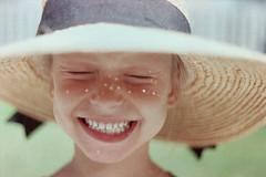 (bisousmonamour) Tags: light summer portrait film girl hat happy child happiness freckles