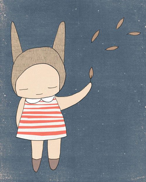 Bunny-Rabbit-Girl-Stripes---Blue-and-Coral---Illustration---Art-Print