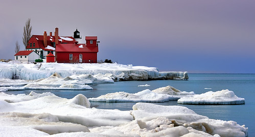 """Lavender Dawn""  Point Betsie Lighthouse - Crystallia , Michigan"