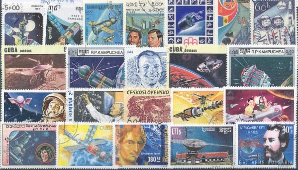Známky - 100 rôznych, vesmír - kozmonautika
