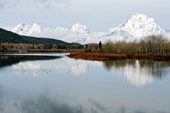 Oxbow Bend (bhophotos) Tags: trip travel trees vacation usa mountains reflection nature water clouds river landscape geotagged nikon snakeriver wyoming tetons grandtetonnationalpark gtnp oxbowbend mtmoran d700 mtwoodring 70200mmf28gvrii