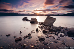 A Loch Lomond minute - explored!! (OnlyEverOneJack) Tags: longexposure sunset sun set bay scotland long exposure angle sony wide hard sigma wideangle shore nd loch grad lomond hitech lochlomond density neutral sigmalens a900 millarochy sigma1735mm sonyalpha nd110 nd10 millarochybay hardgrad sonyalphaa900