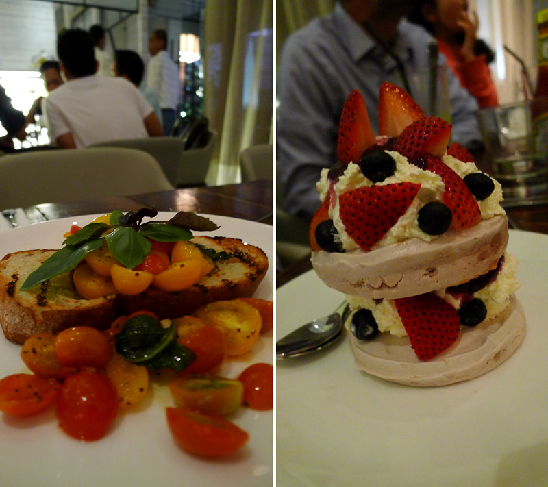Bruschetta and Berry Pavlova