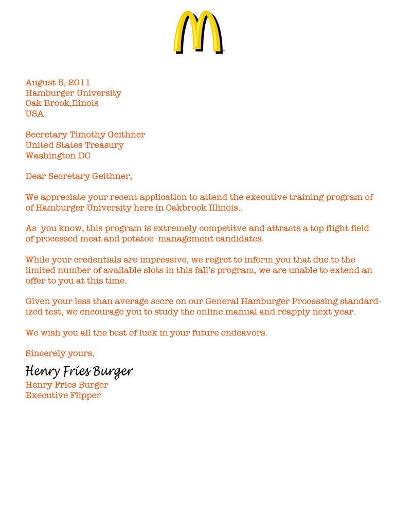 GEITHNER REJECTION LETTER