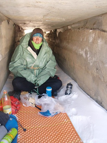 "Christine in her replacement ""gore-tex"" from a Kyrgyz market."