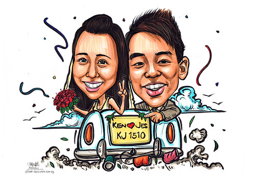 wedding couple caricatures on convertible car
