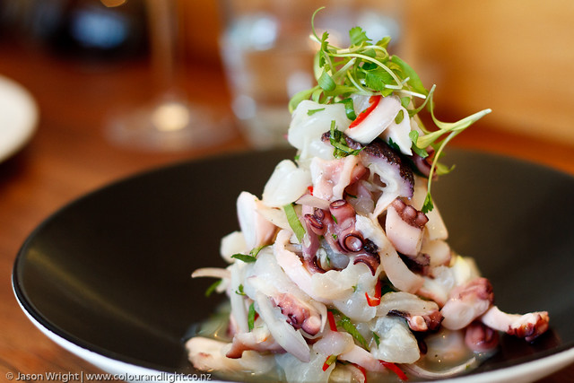 ceviche of scallops, octopus & snapper, chilli, lime