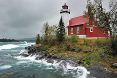 """Gloomy Gales""   Eagle Harbor Lighthouse - Eagle Harbor , Michigan (Michigan Nut) Tags: usa lighthouse storm clouds america geotagged outdoors midwest lighthouses waves michigan windy gale greatlakes lakesuperior keweenawpeninsula keweenawcounty johnmccormick eagleharborlighthouse"