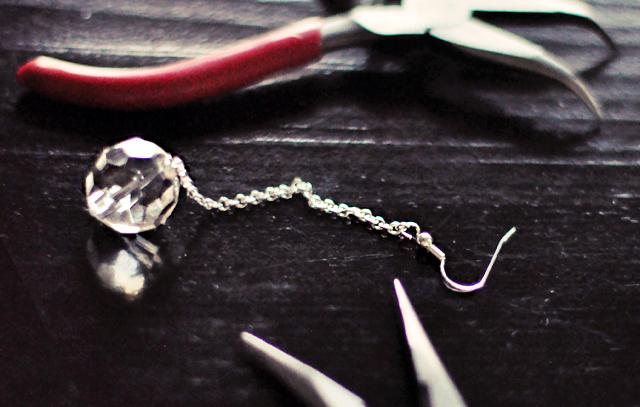 Crystal Ball Drop Earrings DIY -6