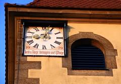 1979 (:Linda:) Tags: germany bavaria franconia bayern franken oberfranken village schwrbitz church kirche clocktower clock written sentence year 1979 zeitundtagebringenvielplage wisdom uhr zeit herz romannumeral
