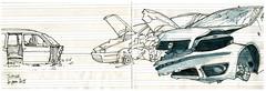 Jupille, Casse d'autos (gerard michel) Tags: auto car sketch croquis