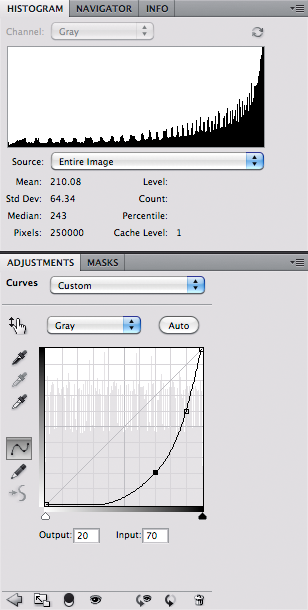 Grayscale with contrast in shadows - histogram