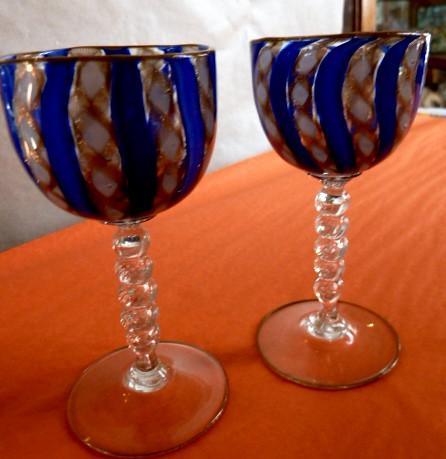 E385N Delicate and rare late Victorian, pair of Blue Latticino glass wines