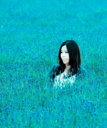 [フリー画像] 人物, 女性, アジア女性, 花畑, 人と花, 日本人, 201107051700