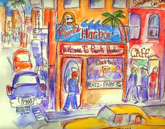 San Diego Watercolors, 1960s scenes... (roberthuffstutter) Tags: art beach japan midwest memories sailors pearls drinks alcohol expressionism impressionism americana venicebeach marines beatniks watercolors patriots cocktails sketches usnavy usn penandink worksinprogress anotherplace estreet beerontap fondmemories wwiivets anothertime 50yearsago retroamericana hotelsigns favoritebars retrobars sketchesandpaintings broadwaysandiego roberthuffstutter beerjoints huffstuttersart elbowtoelbow robertlhuffstutter lostinthe60s sketchesofjapan sandiego1960s pearlsharborbar robertsgallery originalsavailable sailorsonliberty originalartavailable personalfreedoms downtownsandiego1960s patriotismontap assortedmixedmedium bobhuffstutter stagesofprogression sketchesbyrlhuffstutter assortedsketches japaneselifestyles1960s westcoastusa1960s beachbansvideo beachbanssandiego