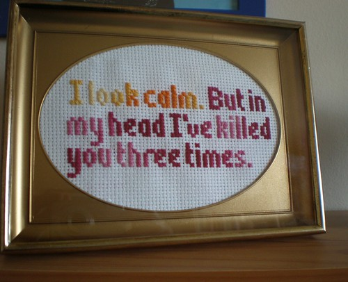 I look calm cross-stitch