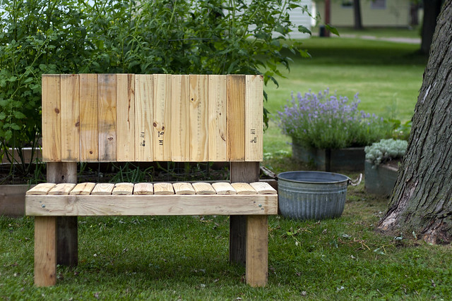 recycled wood garden bench